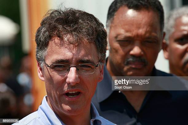 Cook County Sheriff Tom Dart and Rev Jesse Jackson speak at a press conference at Burr Oak Cemetery July 9 2009 in Alsip Illinois Police suspect...
