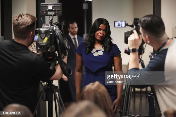 Cook County State's Attorney Kim Foxx arrives for a press conference to announce that charges have been filed against singer R Kelly on February 22...