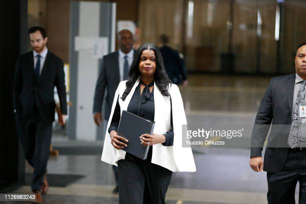 Cook County State's attorney Kim Foxx arrives to speak with reporters and details the charges against R Kelly's first court appearance at the...