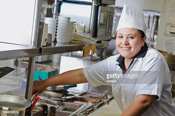 Cook in Kitchen of Mexican Restaurant