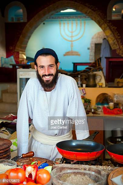 cook in safed, israel - jewish man stock photos and pictures