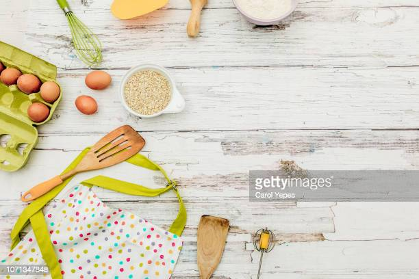 cook ingredient and items.top view - carol cook stock pictures, royalty-free photos & images