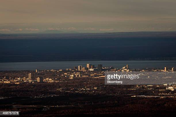 Cook Inlet stands just past downtown Anchorage Alaska US on Wednesday Nov 5 2014 Voters in Anchorage on Nov 4 approved a referendum that voids a...