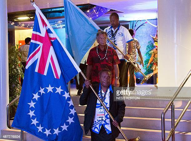 Cook Islands Prime Minister Henry Puna arrives for the official opening of the 46th Pacific Islands Forum in Port Moresby on September 8 2015 The...