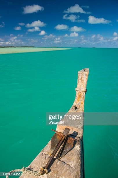 Cook Islands, Rarotonga, Traditional wood carved boat in the Aitutaki lagoon