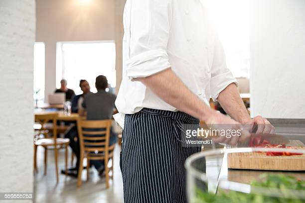 Cook of a bistro preparing food in the kitchen