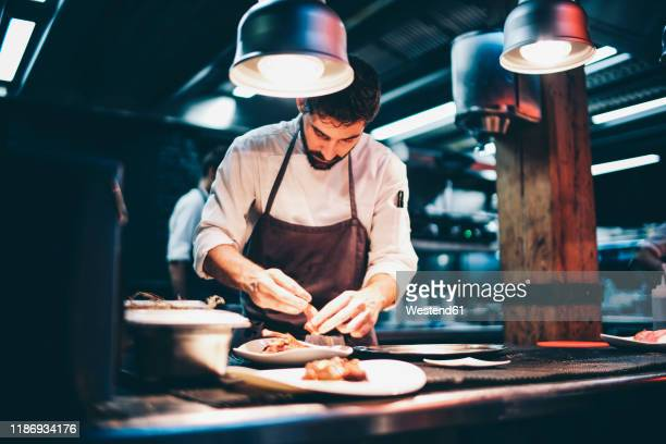 cook serving food on a plate in the kitchen of a restaurant - restaurante imagens e fotografias de stock