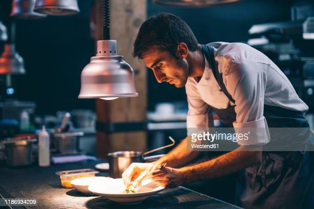 cook serving food on a plate in the kitchen of a restaurant - concentration stock pictures, royalty-free photos & images