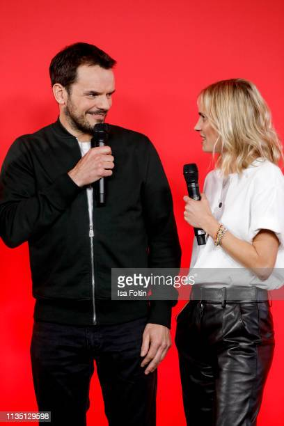 TV cook Steffen Henssler and German presenter Annie Hoffmann attends the press conference by tv channel VOX to present new series in programme at...