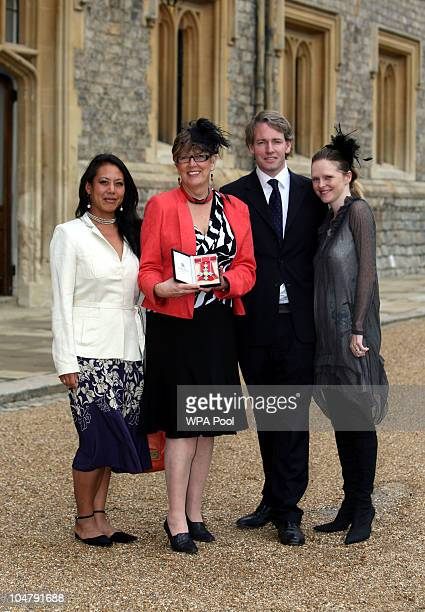 Cook, writer and broadcaster Prue Leith , with daughter Li-Da Kruger , her son Danny Kruger and his wife Emma pose after she became a Commander of...