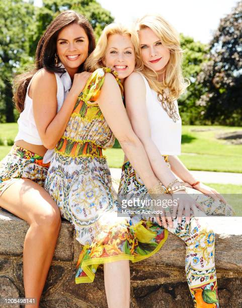 Cookbook author Katie Lee comedian Ali Wentworth and actress Stephanie March are photographed for Hamptons Magazine on June 6 2014 in Hampton New...