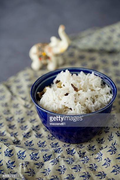 Cooked basmati rice spiced with cloves, cardamom and laurel