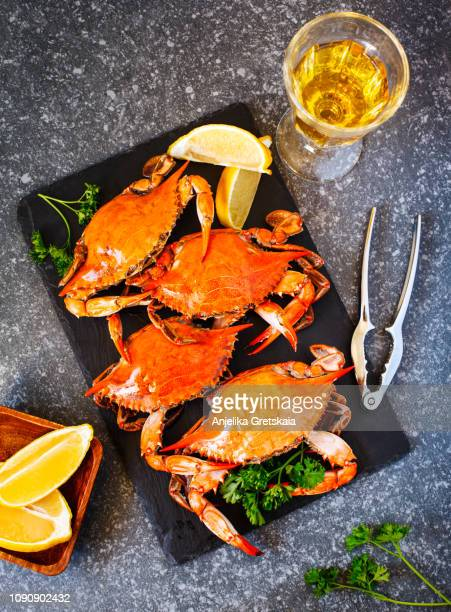 cooked crabs on black plate and glass of white wine - crab leg stock photos and pictures