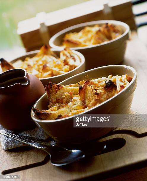 Cooked dishes of marmalade bread & butter pudding