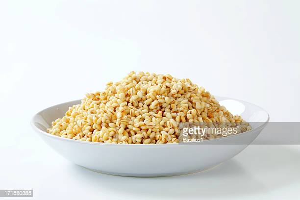 cooked peeled barley in a plate