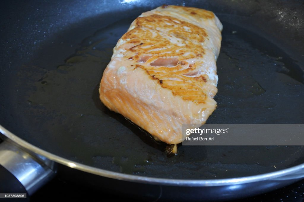 Cooked  Salmon Fish on a Frying Pan : Stock Photo