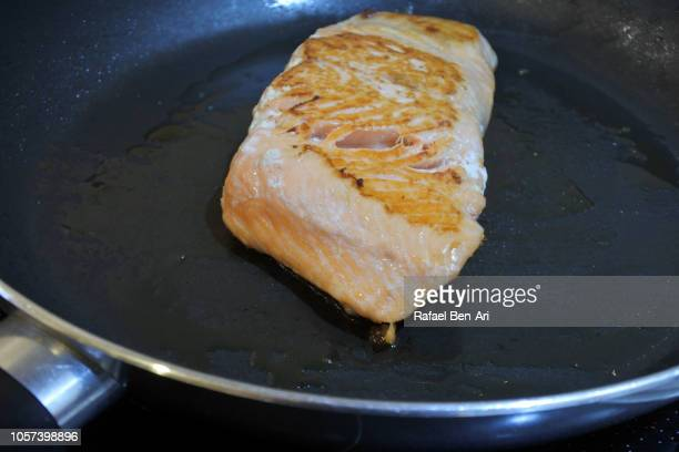 Cooked  Salmon Fish on a Frying Pan