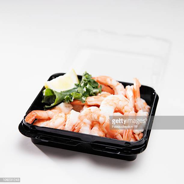 Cooked shrimps in container, close-up
