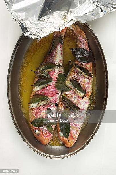Cooked Snapper in baking tray