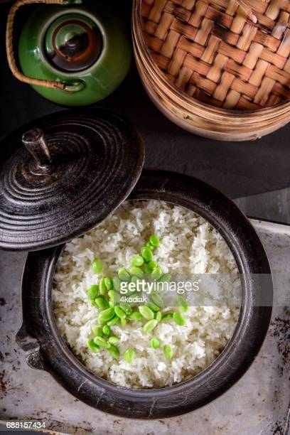 Cooked White Rice with Edamame in a Cast Iron Pot