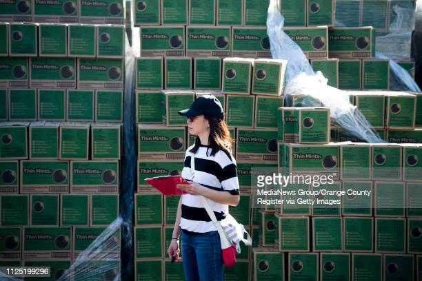 Cookie coordinator Debbie Reynolds of Villa Park, from Troop 4055, stands next a stack of Thin Mints during the Girl Scout Cookie Mega Drop at the...
