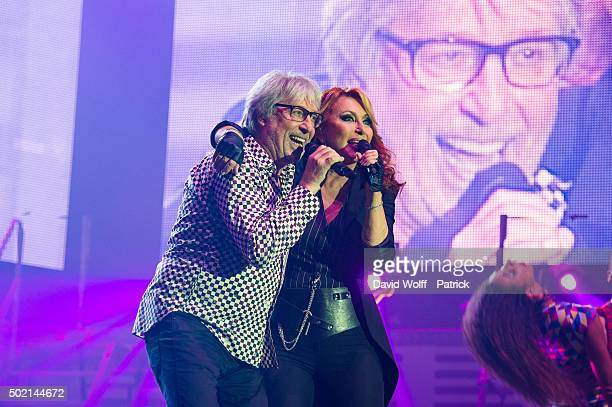Cookie Dingler and Julie Pietri perform during Stars 80 Show at AccorHotels Arena on December 20 2015 in Paris France