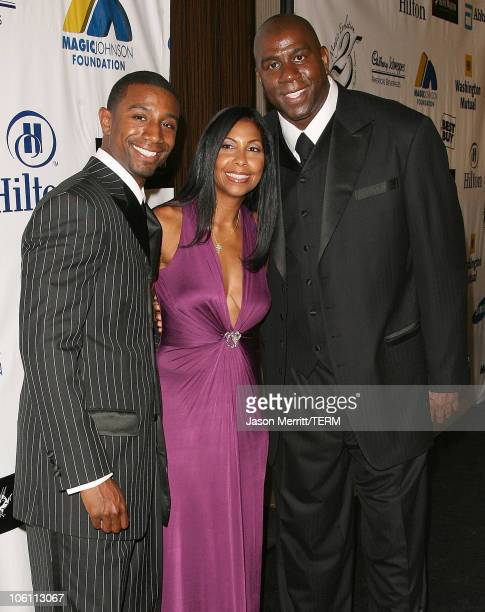 Cookie Johnson and Earvin Magic Johnson with Andre Johnson