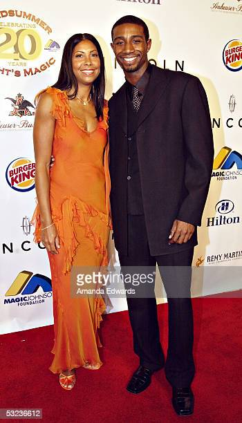 Cookie Johnson and son Andre arrive at the 20th Annual Midsummer Night's Magic Awards Dinner on July 13 2005 at the Century Plaza Hotel in Los...