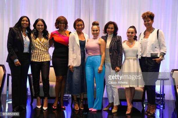 Cookie Johnson Ayesha Curry Gale King Jada Paul Mia Wright Elaine Baylor Adrienne Bosh and Tracy Wilson Mourning pose together after a pannel at The...