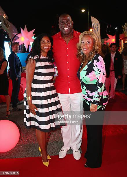 Cookie Johnson Earvin 'Magic' Johnson and Denise Rich attend the Denise Rich annual St Tropez party on July 17 2013 in SaintTropez France