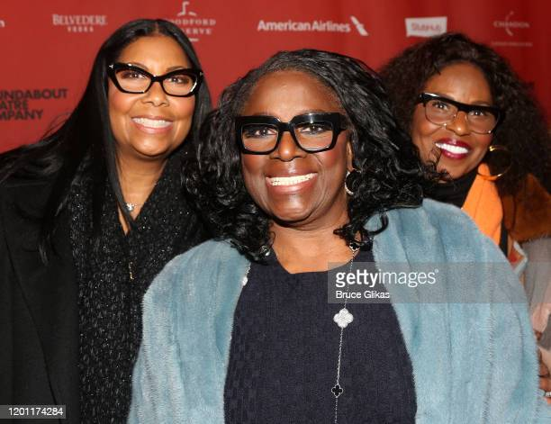 """Cookie Johnson, LaTanya Richardson Jackson and Pauletta Washington pose at the opening night of """"A Soldier's Play"""" on Broadway at The American..."""