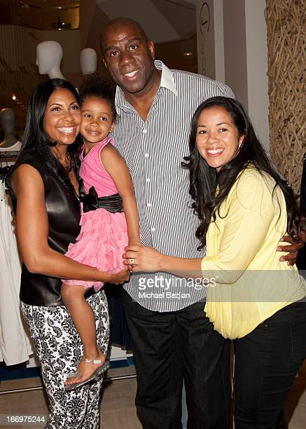 Cookie Johnson Magic Johnson their granddaughter Gigi and Lisa Meyers Johnson attend Cookie Johnson And Neiman Marcus Host Girls Night Out on April...