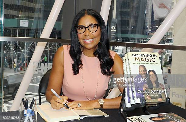 Cookie Johnson signs copies of her new book Believing in Magic My Story of Love Overcoming Adversity and Keeping the Faith at NBA Store on September...