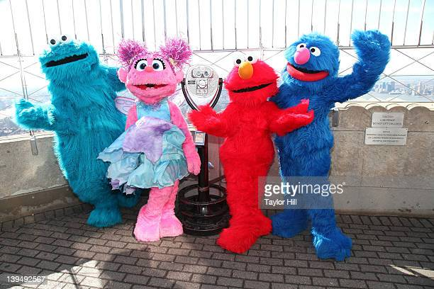 Cookie Monster, Abby Cadabby, Elmo, and Grover visit The Empire State Building on February 21, 2012 in New York City.