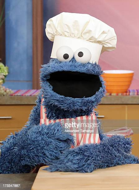 """Cookie Monster is seen during Sesame Street's visit of Univision's """"Despierta America"""" at Univision Headquarters on July 12, 2013 in Miami, Florida."""