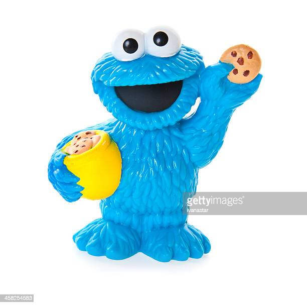 cookie monster plastic toy - sesame street - monster fictional character stock photos and pictures