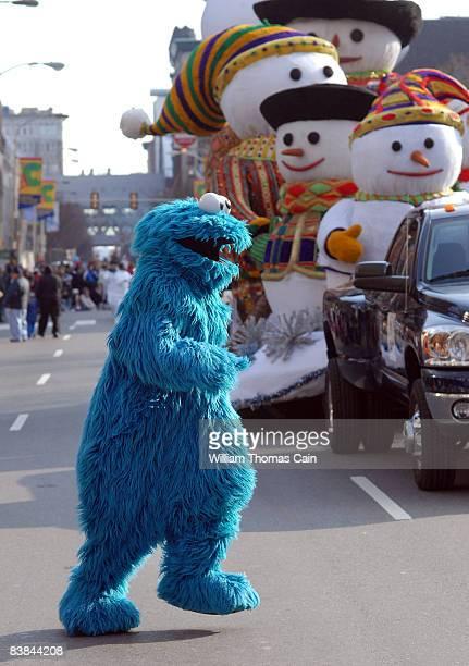 Cookie Monster runs across the street during the 6ABC/IKEA Thanksgiving Day Parade November 27, 2008 in Philadelphia, Pennsylvania. The Philadelphia...