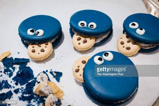 Cookie Monster shaped cookies are pictured in the Washington Post Food Lab.