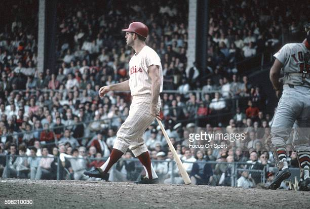 Cookie Rojas of the Philadelphia Phillies bats during an Major League Baseball game circa 1964 at Connie Mack Stadium in Philadelphia Pennsylvania...
