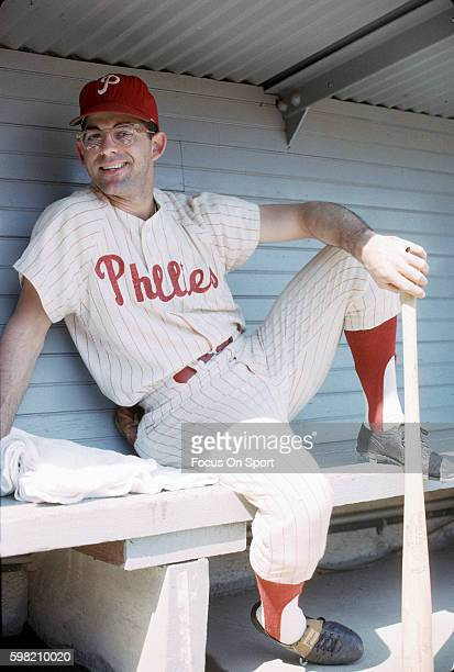 Cookie Rojas of the Philadelphia Phillies looks on from the dugout during a Major League Baseball game circa 1964 at Connie Mack Stadium in...