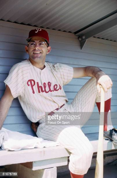 Cookie Rojas of the Philadelphia Phillies who batted 291 for the Phillies sits in the dugout at Connie Mack Stadium in Philadelphia PA