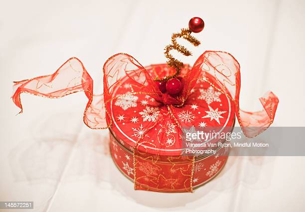 cookie tin with decorations - vanessa van ryzin stockfoto's en -beelden