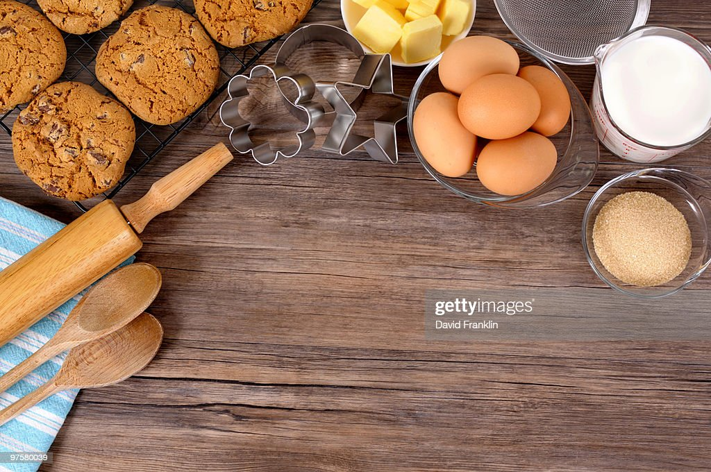 Cookies baking background with copyspace : Stock Photo