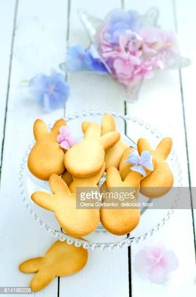 cookies in the shape of bunnies and flowers of Hydrangea