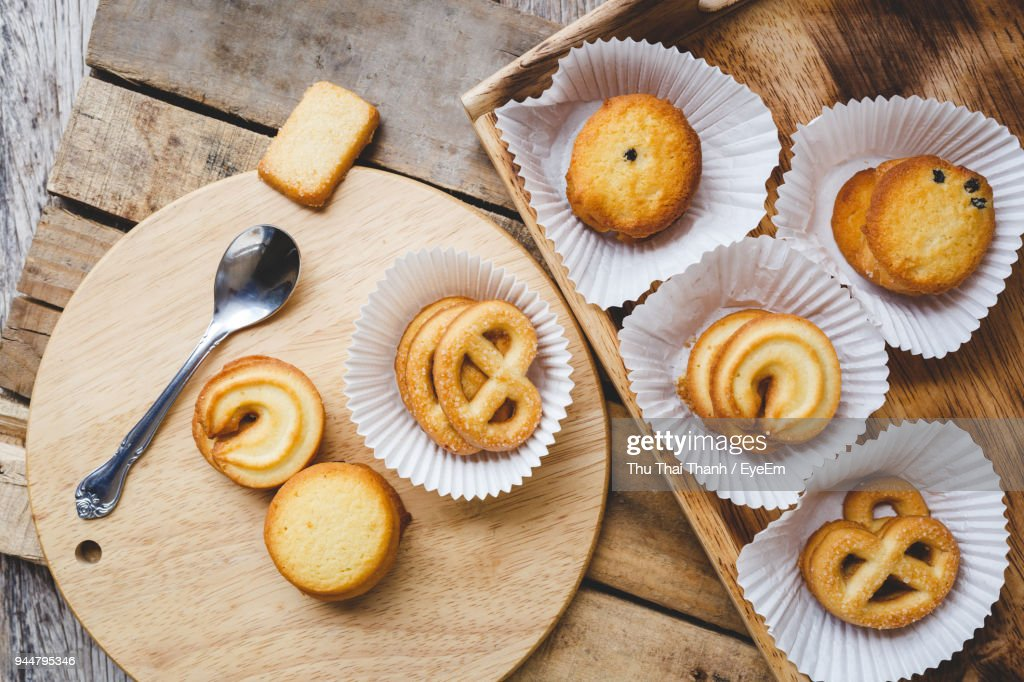 Cookies In Tray On Table : Stock Photo