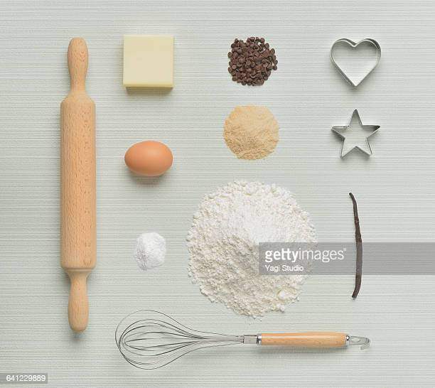 cookies of material knolling style - cooking utensil stock photos and pictures