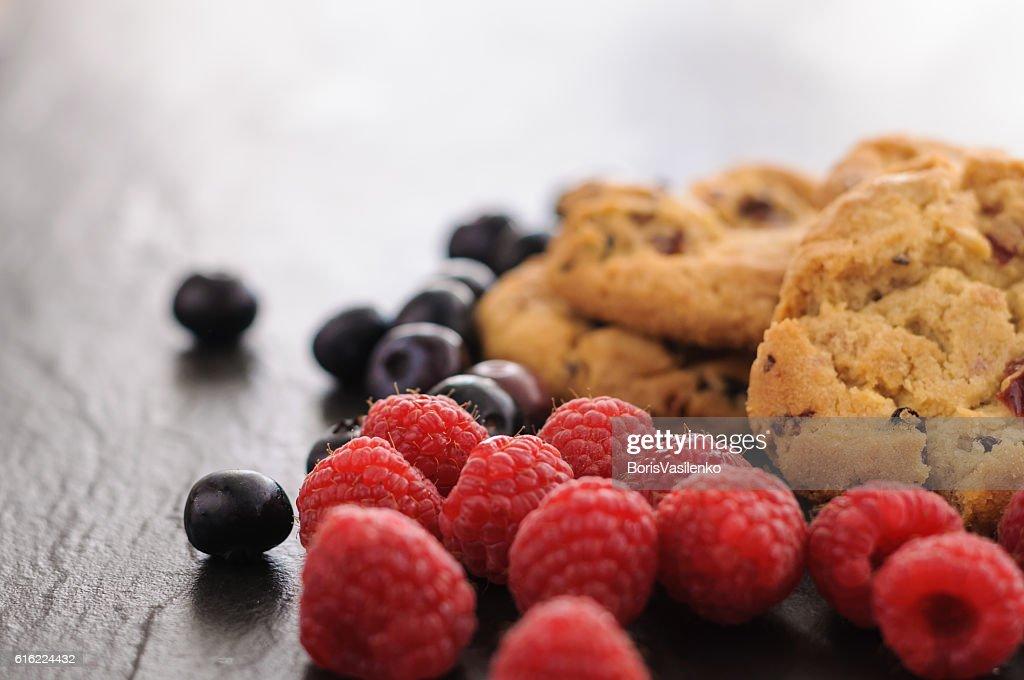 cookies raspberries blueberries : Stock Photo