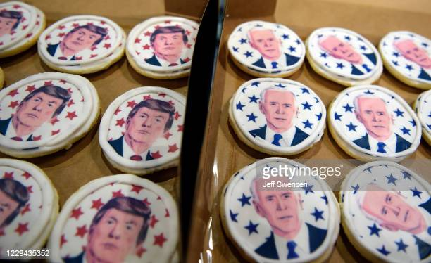 Cookies representing the presidential candidates for sale at the Oakmont Bakery on November 3, 2020 in Oakmont, Pennsylvania. After a record-breaking...