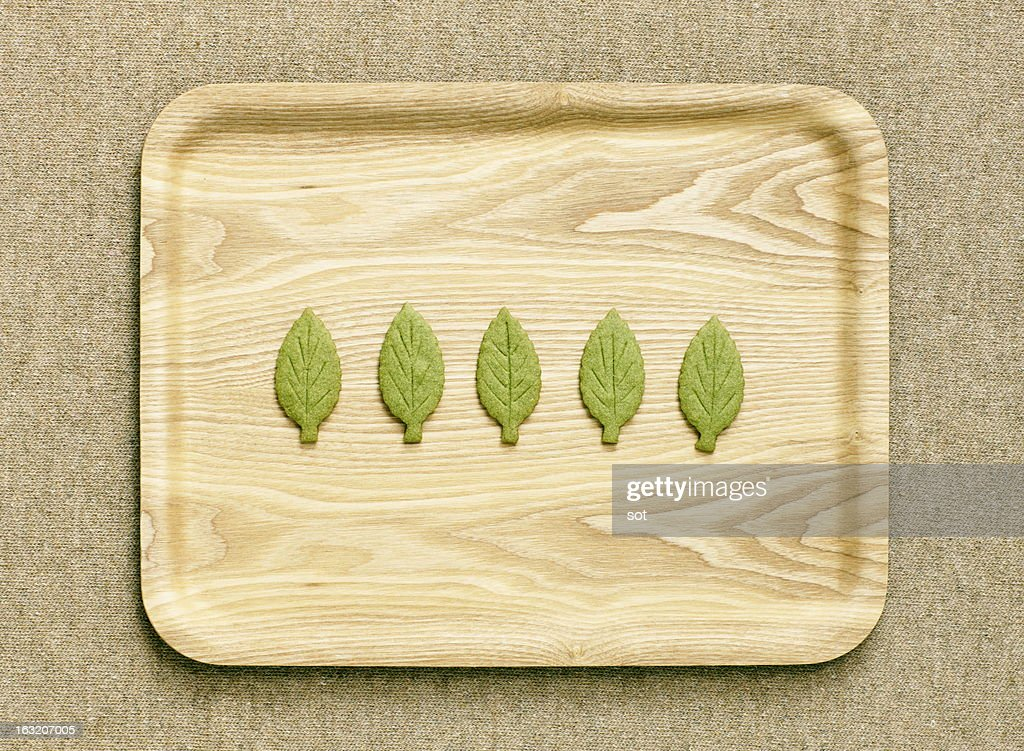 Cookies shaped leaf on the wooden tray,aerial view : Stock Photo