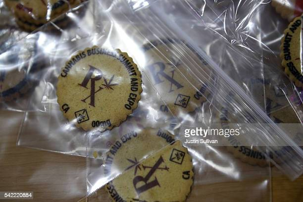 Cookies with a marijuana leaf printed on them are displayed during the 2016 Cannabis Business Summit Expo on June 22 2016 in Oakland California...